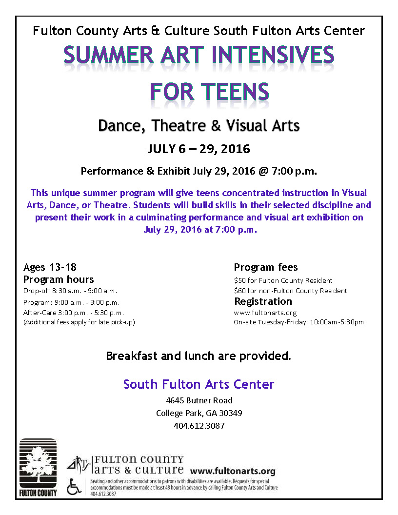 an event flyer with text information for the summer art intensive for teens